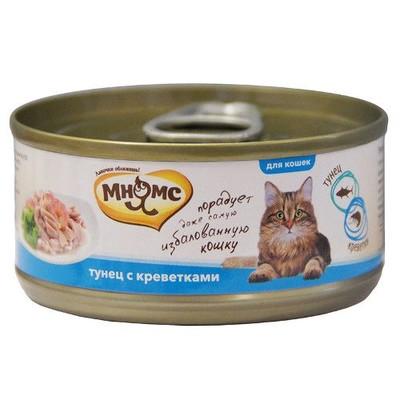 Корм для кошек МНЯМС Тунец с креветками в нежном желе конс.