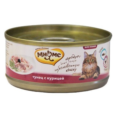 Корм для кошек МНЯМС Тунец с курицей в нежном желе конс.